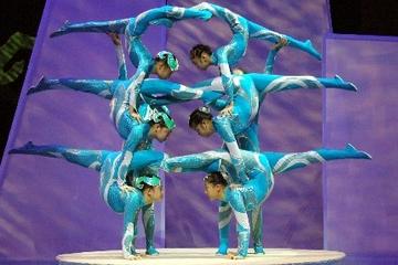 Chinesische Akrobaten und abendliche Tour durch Shanghai
