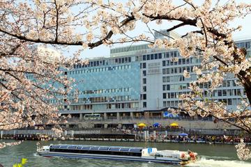 Osaka am Spaziergang am Nachmittag mit Osaka Flussfahrt