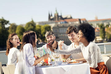 1hr Vltava River Cruise with Coffee, Dessert & Free Airport Transfer