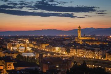 Palazzo Vecchio/Arnolfo-Turm im Sonnenuntergang, opt...