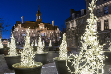 Tour a pé em Old Montreal no natal