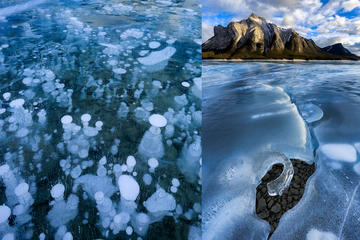 Abraham Lake Ice Bubbles Winter Photography Tour