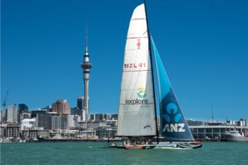 Coupe de l'Amérique en voilier dans le port Waitemata d'Auckland