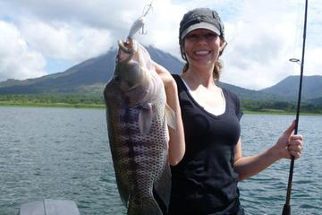 Sport fishing at Arenal Lake of La Fortuna in a boat half day tour