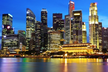 Rundturen Singapore by Night med middag vid Singaporefloden