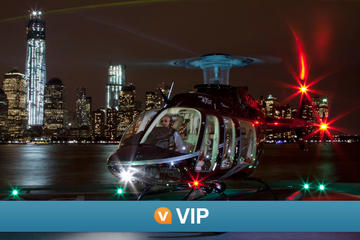 VIP Viator: survol de nuit en hélicoptère de NYC et croisière Statue...