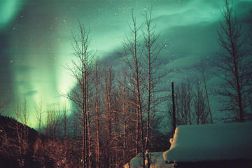 Aurora Borealis Mountaintop Viewing from Cabin