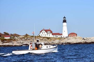 Day Trip Private Lighthouse Sightseeing Charter on a Vintage Lobster Boat near Portland, Maine