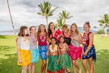 Hula Lei making and coconut cutting Hawaiian cultural activity