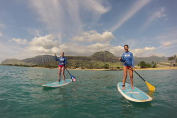 Aula de stand-up paddle em Pokai Bay