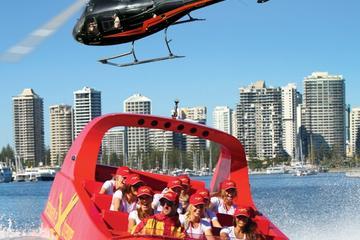 Vol en hélicoptère au-dessus de la Gold Coast et croisière en jetboat