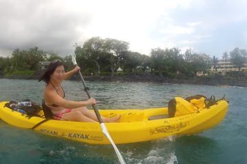 Isla Grande Keauhou Bay cueva en kayak y buceo visita opcional