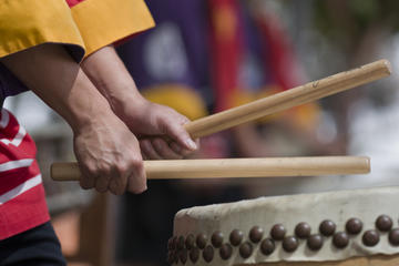 Clase de tambor taiko japonés en Kioto