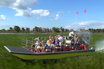 Excursão de aerobarco por Everglades, Flórida, e encontro com jacarés...