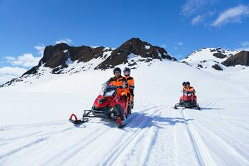 Snowmobiling on Langjökull Glacier...