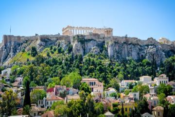 Aula de culinária grega em Atenas incluindo jantar no terraço com...