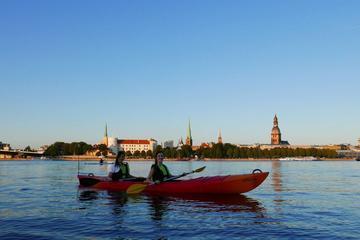 Riga Kayak Night Tour on Daugava River Including Picnic Meal