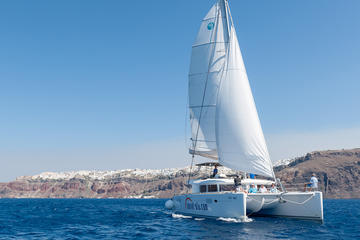 Santorini Small-Group Catamaran Sailing Trip with BBQ and Drinks