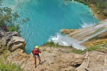 Rappelling beside Minas Viejas and Micos Waterfall