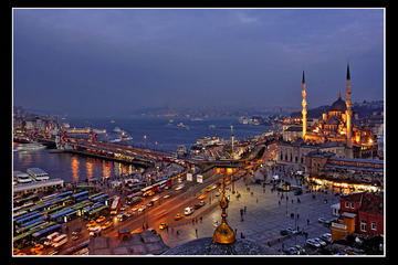 Cruzeiro ao pôr do sol em Istambul