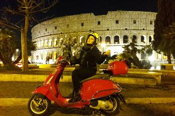 Romantic Vespa Tour of Rome by Night with Hotel Pick-up and Drop-off