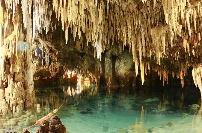 Combo de excursões Discovery 3 em 1: ruína de Tulum, snorkel nos corais além de Cenote e cavernas