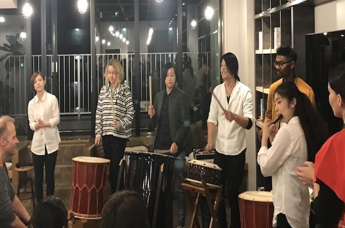 Japanese taiko drum performance and trial at WeBase Hakata Community Hostel