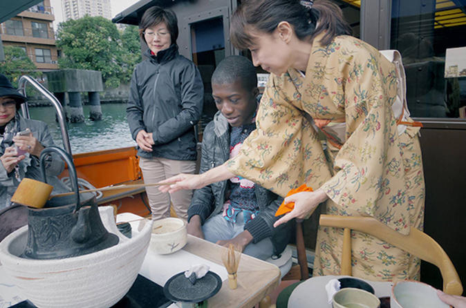 Tea Ceremony Experience on a Boat including a Kaiseki Cuisine Bento""