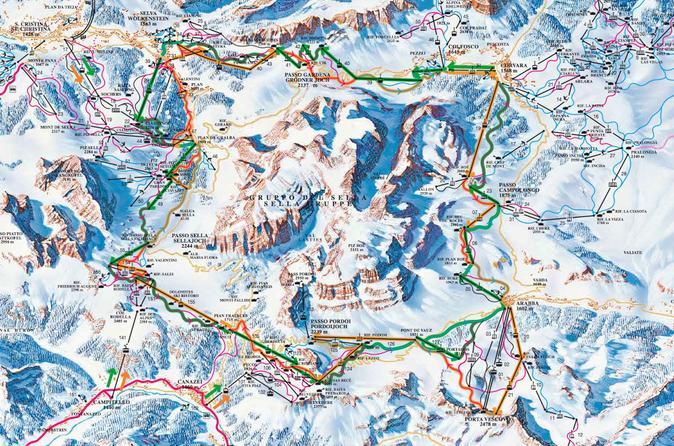 Dolomiti Ski Tour Sellaronda from Cortina dAmpezzo in Italy Europe