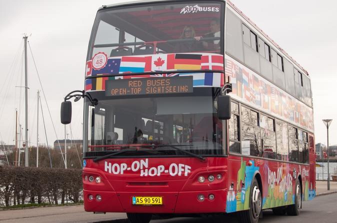 Ingresso para o ônibus vermelho com várias paradas de Copenhague