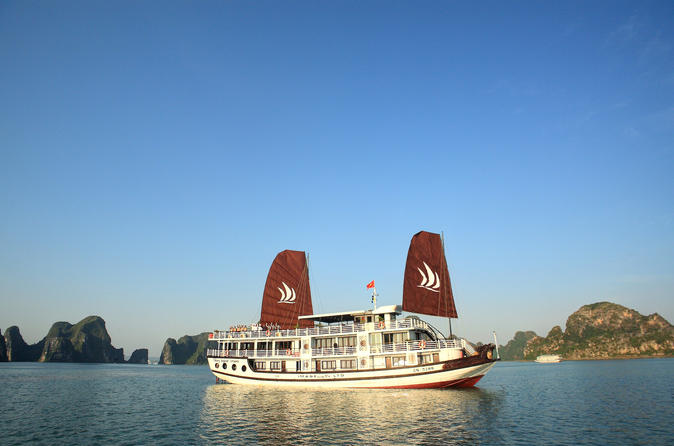 Overnight Halong Cruise with Oceanview Cabin on Halong Glory Including Hanoi Transfer