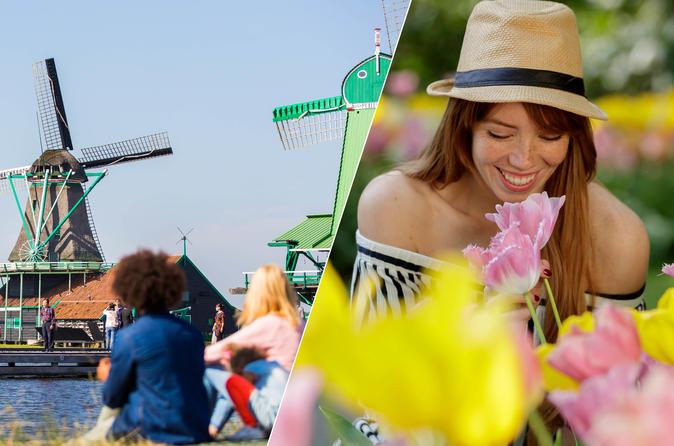 Amsterdã supereconômica: moinhos de Zaanse Schans, Marken, Volendam e Keukenhof, com seus campos de flores