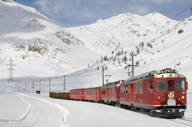 Swiss alps bernina express rail tour from milan with hotel pick up in milan 306991