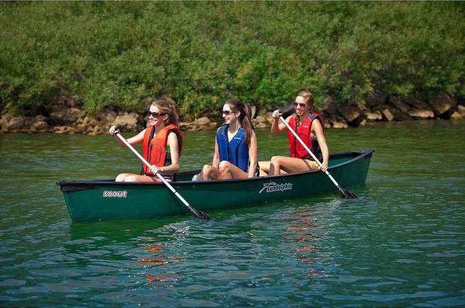 Three person single day trip with canoe along the blue river in in louisville 302355