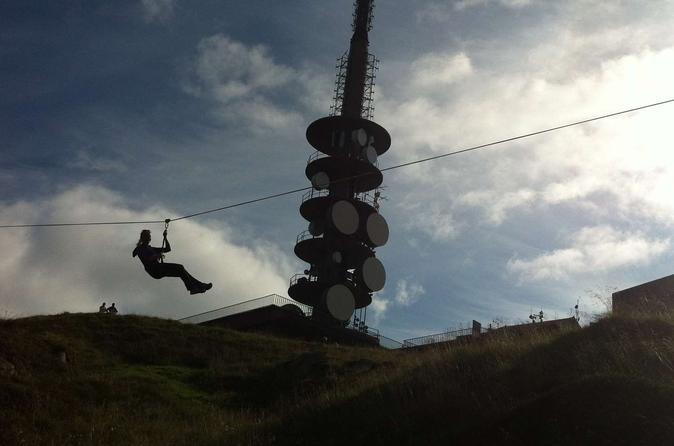 Zipline at Mt Ulriken in Bergen Norway, Europe