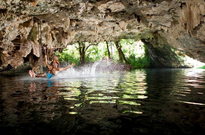 Excursão para cenote em Cancun: mergulho, rapel e tirolesa