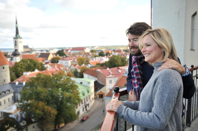Couple overlooking the city of Tallin