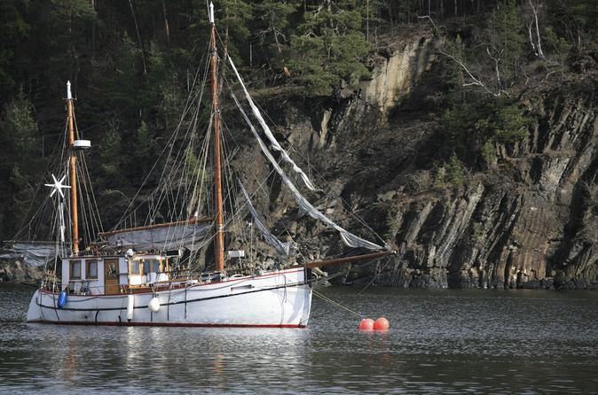 Cruzeiro noturno norueguês de 3 horas a bordo de um barco de madeira no fiorde de Oslo