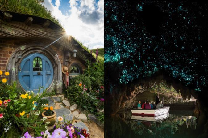 Viagem diurna pelo Hobbiton Movie Set e pelas Cavernas Waitomo Glowworm, saindo de Auckland