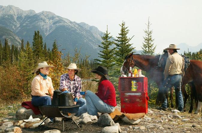 Covered wagon or horseback ride in banff with western cookout in banff 126453