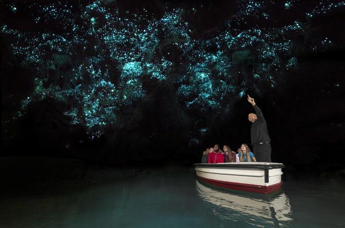 Excursão de ida de Auckland para Rotorua, passando pelas Cavernas de Vaga-lumes de Waitomo