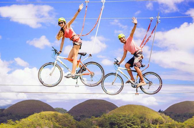 Kết quả hình ảnh cho Riding a Bike Zipline - Chocolate Hills Adventure Park, Bohol, Philippines