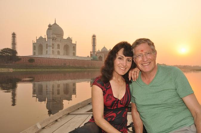 Sunrise or Sunset View of Taj Mahal on Yamuna River Boat Ride