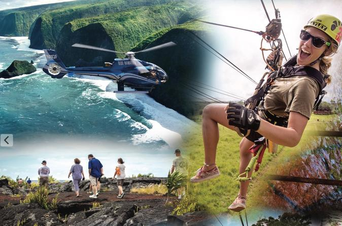 Big island adventure combo helicopter zipline and lava tour in hawaii 624959
