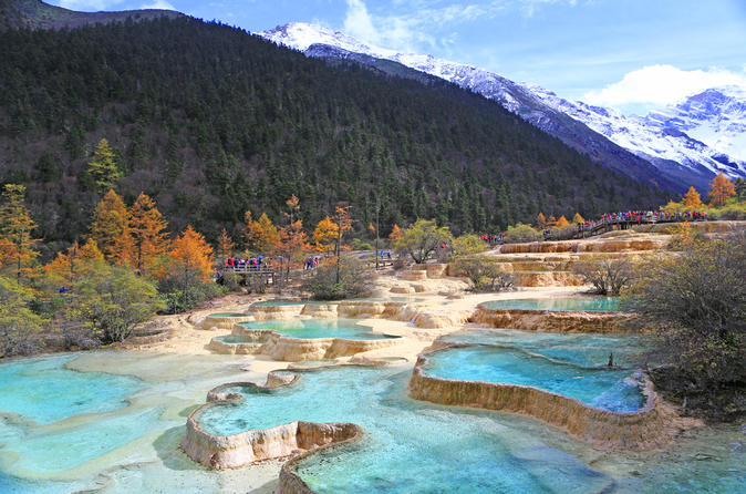 2-Day Jiuzhaigou and Huanglong National Parks Independent Tour from Chengdu by Air