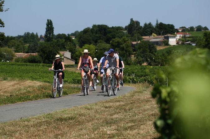Excursão de bicicleta para grupo pequeno de St-Emilion saindo de Bordeaux incluindo degustações de vinhos e almoço