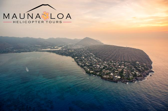 Oahu Sunset Romance VIP: 45 Minute Guaranteed Private Helicopter Tour