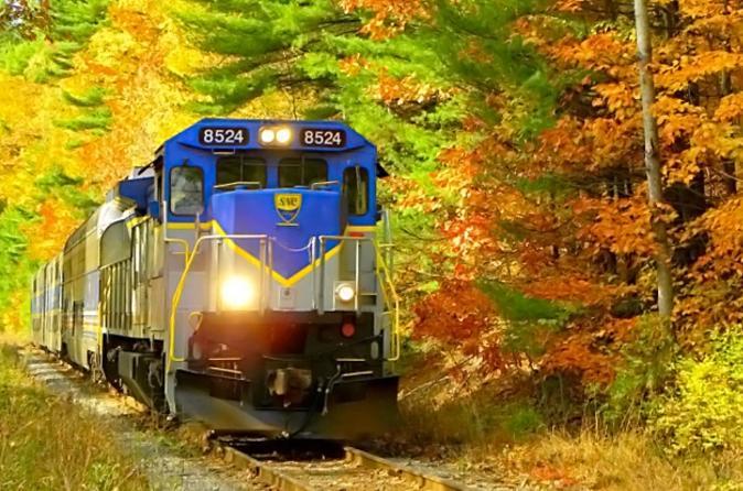 Saratoga and north creek fall foliage scenic train ride in new york state 180475