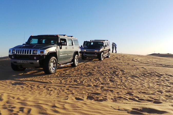 Hummer-avontuur in de woestijn van Dubai met barbecue-diner