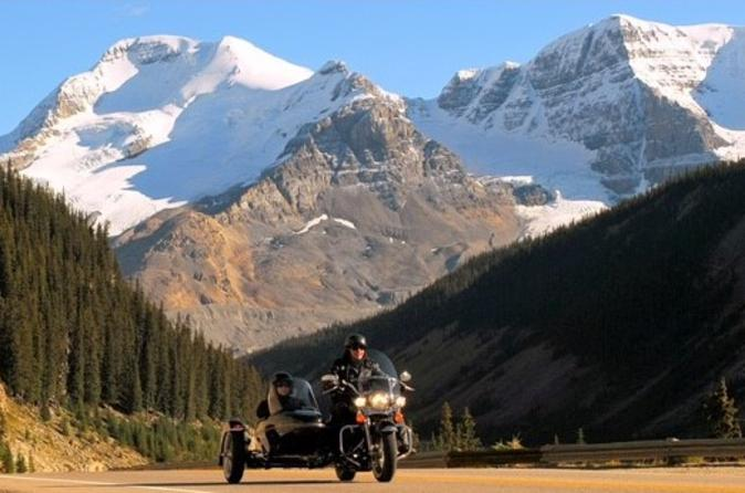 Icefields parkway sidecar ride and champagne helicopter flight in jasper 420739